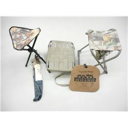 ASSORTED FOLDING TYPE CAMO HUNTING/FISHING CHAIRS