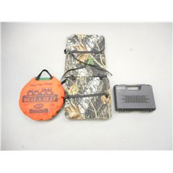 ASSORTED HUNTING HEAT CUSHIONS AND HAND GUN CASE