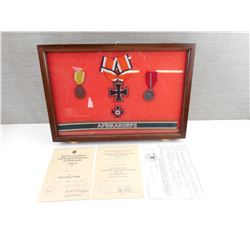 WWII GERMAN MEDALS IN A GLASS SHADOW BOX CASE