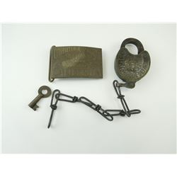 UNION PACIFIC ROADWAY BELT BUCKLE AND PADLOCK WITH KEY