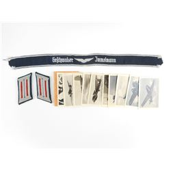 WWII GERMAN LUFTWAFFE CUFF TITLE AND CARDS