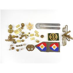 ASSORTED MILITARY BADGES AND BUTTONS