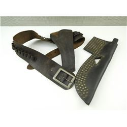 BLACKFOOT INDIAN BRASS TACKED LEATHER KNIFE SHEATH WITH KNIFE & HOLSTER & AMMO BELT