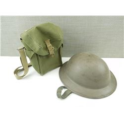 WWII HELMET AND GAS MASK BAG