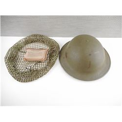 WWII OR POST WAR CANADIAN/BRITISH HELMET WITH NET AND BANDAGE DRESSING