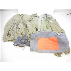 ASSORTED CANADIAN MILITARY COMBAT UNIFORMS & BOOTS IN SURVIVAL SACK