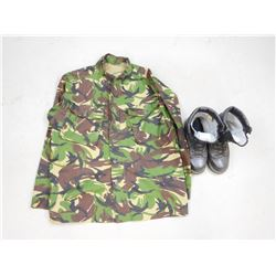 BRITISH DPM CAMOUFLAGE JACKET AND BOOTS