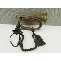 BRASS MILITARY BUGLE WITH GREEN ROPE BRAID