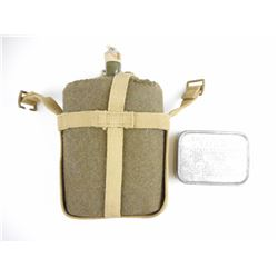 MILITARY TYPE CANTEEN AND EMPTY EMERGENCY RATION TIN