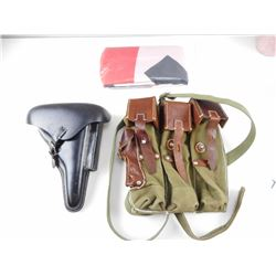 REPRODUCTION WWII GERMAN HOLSTER, MAGAZINE POUCH AND FLAG