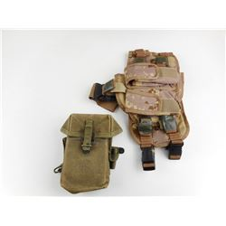 MILITARY TYPE HOLSTER AND MAGAZINE POUCHES