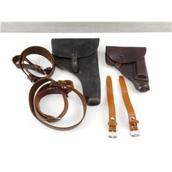 ASSORTED LEATHER HOLSTERS AND SLINGS