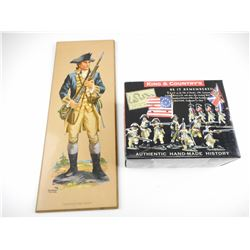 AMERICAN REVOLUTIONARY FIGURINE IN ORIGINAL BOX AND COLOR PAINTING ON WOODEN BOARD