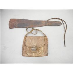 VINTAGE LEATHER RIFLE SCABBARD AND BAG