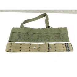 KOREAN WAR ERA BANDOLIER AND WWI BELT