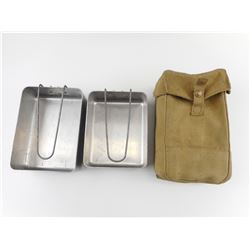 WWII CANADIAN BREN POUCH AND MESS TINS