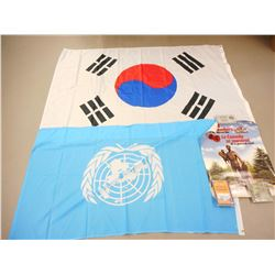 UNITED NATIONS & SOUTH KOREAN FLAGS AND ASSORTED KOREA WAR ITEMS