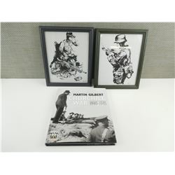 CHURCHILL AT WAR BOOK AND WAR TIME PICTURE PRINTS.