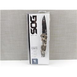 SOG FLASH II FOLDING KNIFE, IN PACKAGE