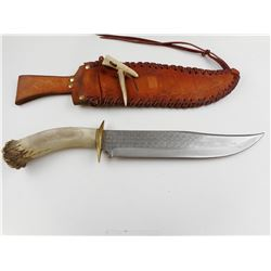 BOWIE KNIFE WITH LEATHER LACED SHEATH