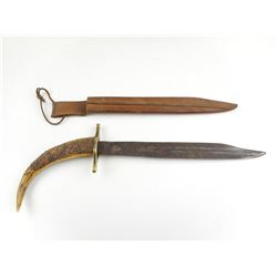 ANTLER HANDLED KNIFE AND SHEATH