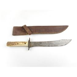 BOWIE KNIFE WITH ANTLER HANDLE AND SHEATH