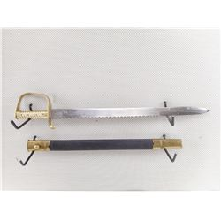 BRITISH 1856 PATTERN PIONEER SAW BACK SWORD WITH SCABBARD