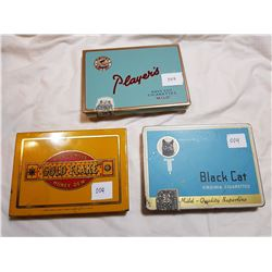 LOT OF 3 CIGARETTE TINS (BLACK CAT, PLAYERS)