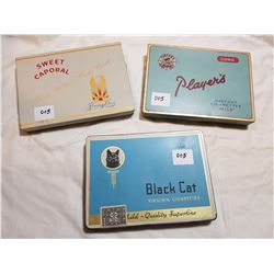 LOT OF 3 CIGARETTE TINS ( PLAYERS, SWEET CAPORAL, BLACK CAT)