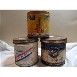 LOT OF 3 TOBACCO TINS (65 CENT DAILY MAIL AND ZIG ZAG POLUS AMBER)