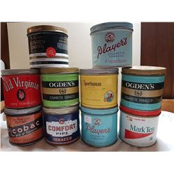 LOT OF 10 TOBACCO TINS (IN GREAT CONDITION)