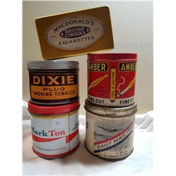 LOT OF 5 TOBACCO TINS (ONE HAS NO LID)