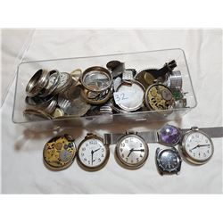 LOT OF ASSORTED WATCHES, POCKET WATCHES AND PARTS (AS IS)
