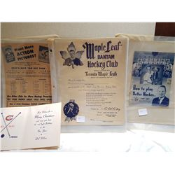 HOCKEY MEMORABILIA (MAPLE LEAFS) *60'S ERA*
