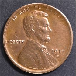 1917-D LINCOLN CENT  CH BU RB