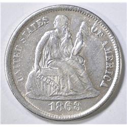 1868-S SEATED LIBERTY DIME   XF