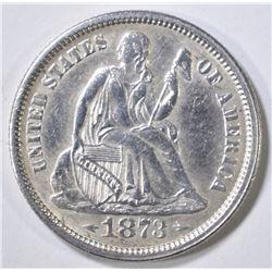 1873 SEATED LIBERTY DIME   AU