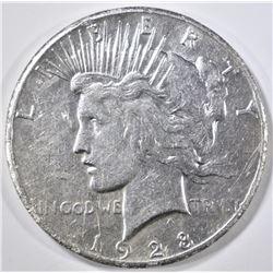 1928 PEACE DOLLAR AU CLEANED