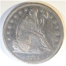 1871 SEATED LIBERTY DOLLAR CH AU