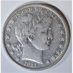 1911 BARBER HALF DOLLAR AU MARKS REV
