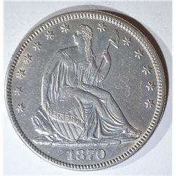 1870 SEATED LIBERTY HALF DOLLAR AU/BU
