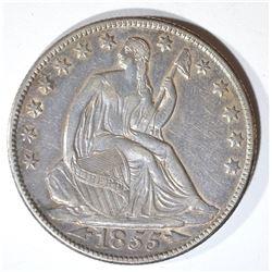 1855-O ARROWS SEATED LIBERTY HALF DOLLAR CH AU