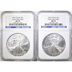 2-2010 AMERICAN SILVER EAGLES, NGC MS-70