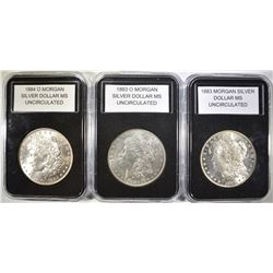LOT OF 3 UNCIRCULATED MORGANS: