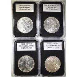 LOT OF 4 UNCIRCULATED MORGANS: