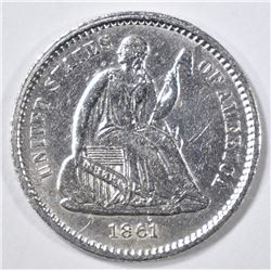 1861 SEATED LIBERTY HALF DIME AU/BU