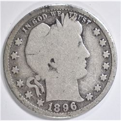 1896-S BARBER QUARTER GOOD