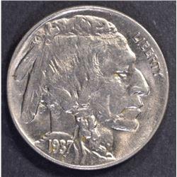 1937-D 3-LEGGED BUFFALO NICKEL, CH BU+ SUPER COIN!