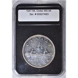 1947 CANADA SILVER DOLLAR,  CH BU