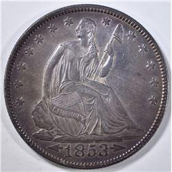 1853 ARROWS & RAYS SEATED HALF DOLLAR CH BU